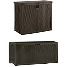 Suncast Elements Outdoor 40-Inch Wide Cabinet and Wicker Resin Deck Box Bundle