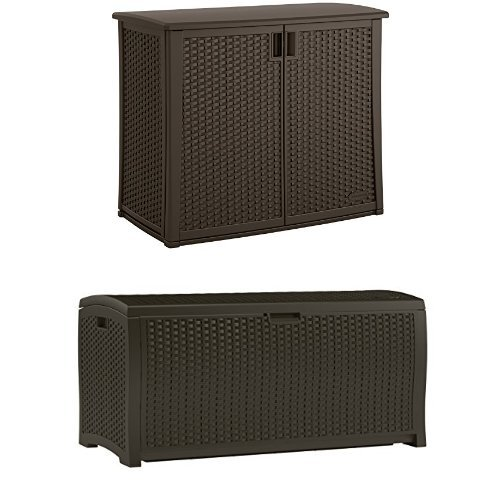 Suncast Elements Outdoor 40-Inch Wide Cabinet and Wicker Resin Deck Box Bundle by Suncast