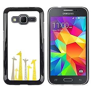 TopCaseStore / la caja del caucho duro de la cubierta de protección de la piel - Giraffe Drawing Minimalist Clean White - Samsung Galaxy Core Prime SM-G360