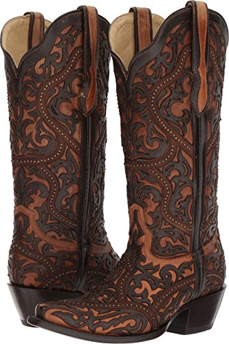 Corral Women's Full Overlay Boot Snip Toe Brown 8 M by CORRAL