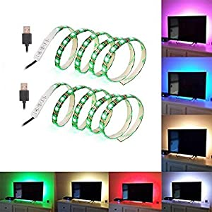 ( 2-Pack) SOLLED Bias Lighting for HDTV 60 LEDs TV Backlight, 3.28Ft Ambient TV Lighting Multi-Color Flexible 5050 RGB USB LED Strip, Best for Flat Screen/HDTV/Desktop PC Monitor Background Lighting