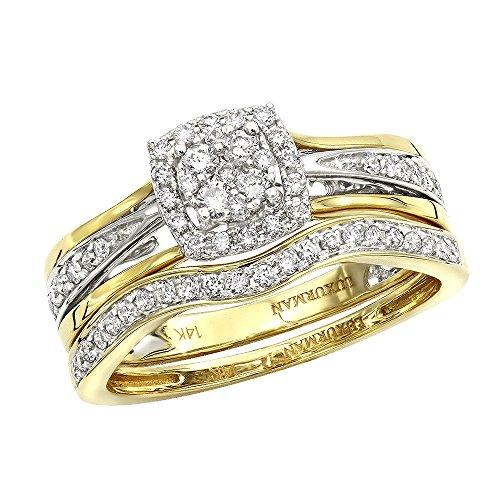 Affordable 14K Gold Diamond Engagement Ring Set Wedding Band 0.4ctw (White-Yellow, Size - Pave Platinum Band Diamond Set
