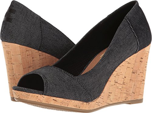 TOMS Stella Black Denim Peep-Toe Wedges 10009763 Womens 12