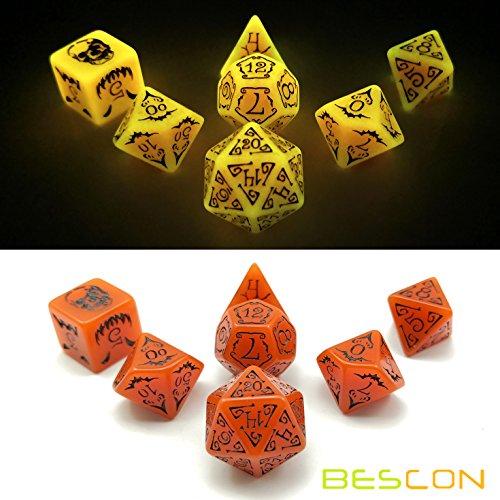 Bescon Glowing Halloween Polyhedral Dice 7pcs Set, Luminous Halloween RPG Dice Set, Glow in Dark Halloween DND Game Dice -