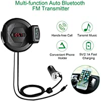 LESHP Bluetooth FM Transmitter HIFI Wireless Audio Receiver Stereo USB Fast Car Charger Radio Adapter Car Hands Free Calls AUX Input for iPhone Smartphone