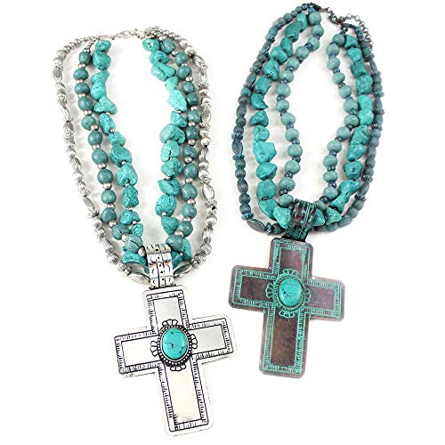 Wyo-Horse Multi Strand Turquoise Large Hammered Cross Necklace Set - Silver