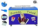 "Zebra Products Commercial Ice Cream Freezer, 5 Baskets, Colorful attractive and Eye catching, 49"" wide, ETL Certified, 4 Wheels, Lock & Key, LED light, 14.3 Cubic ft (5 baskets)"