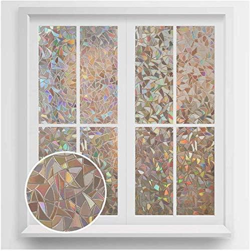 rabbitgoo Fensterfolie Selbstklebend Milchglasfolie Blickdicht Sichtschutzfolie Fenster Anti-UV Statische Folie Milchglas f/ür B/üro oder Zuhause Blau Matt 44.5 x 200CM