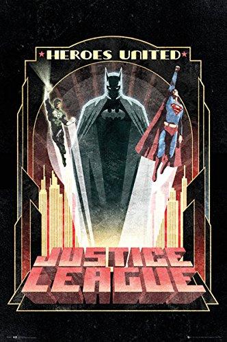 Batman & Friends - Justice League - DC Comics Poster / Print (Art Deco Design) (Heroes United - Superman & The Green Lantern) (Size: 24