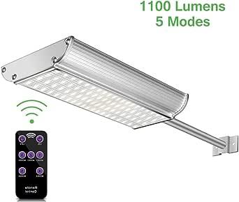 Luces Solares LED Exterior con Sensor Movimiento,Lacyie 70LED Lámpara Solares Exterior Jardín con Mando a Distancia,1100LM Focos Solares Impermeable IP65 Farola,Iluminación de Caminos,Porche,Patio