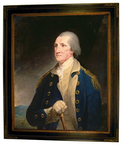 Historic Art Gallery p1004-pine0001-16×20-decfr11660 HistoricArtGallery-Portrait of George Washington 1785 by Robert Edge Pine Framed Canvas Print-Brown Gallery-16×20, 16 x 20