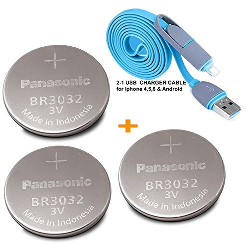 Panasonic 3 Pieces - BR3032 , ( BONUS 2-in-1 Charger Cable ) 3V Lithium Coin Cell Battery. (Cr1620 Battery 3v Panasonic compare prices)