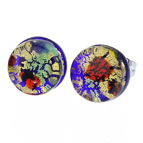 - GlassOfVenice Murano Glass Venetian Reflections Round Stud Earrings - Golden Meadow
