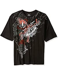 Southpole Men's Big and Tall Southpole Logo Short Sleeve All Over Metal Graphic Tee