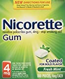 Nicorette Nicotine Gum Stop Smoking Aid, Fresh Mint, 4 milligram, 200 Count