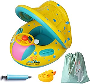 ENTER Inflatable Baby Float-Pool Swimming Ring with Sun Canopy with  Inflator Pump,Waterproof Carry Bag,Duck Toys imgproduct