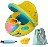 Inflatable Baby Float-Pool Swimming Ring with Sun Canopy with Inflator Pump,Waterproof Carry Bag,Duck