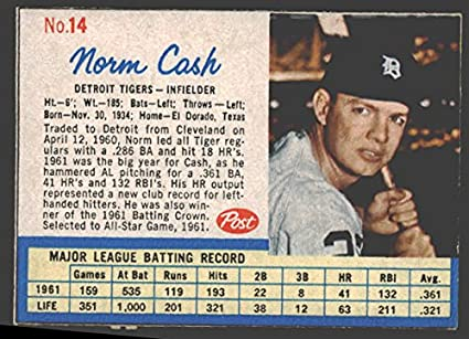 1962 Post Cereal Baseball Card 14 Norm Cash Tl Of The Detroit
