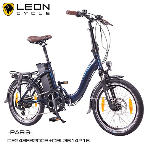 NCM Paris 20 Zoll Elektrofahrrad,E-Faltrad,E-Bike,Pedelec,Klapprad,36V 250W Bafang Motor, 36V Li-Ion Akku mit 14Ah PANASONIC Zellen,weiß,silber,dunkel blau,schwarz (Blau)