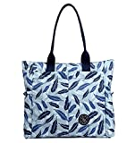 Nylon Water Resistant Multi Pockets Large Lightweight Tote Bag Shoulder Bag for Gym Hiking Picnic Travel Beach Waterproof Tote Bags (Blue Feather HB)