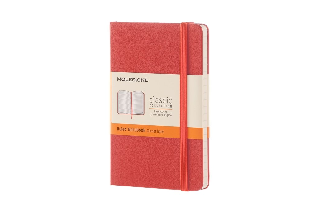 Moleskine Classic Notebook, Pocket, Ruled, Coral Orange,...