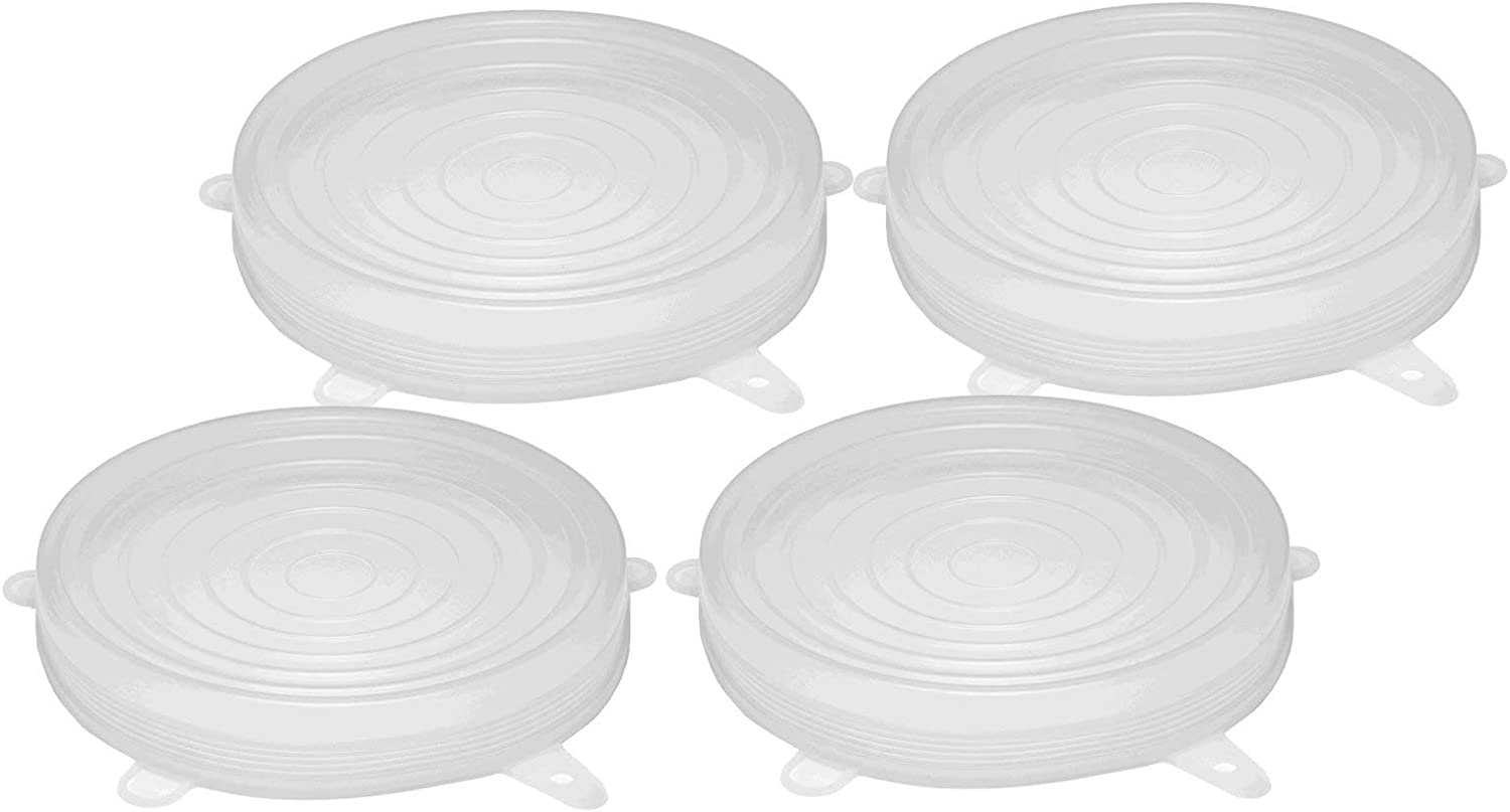 Silicone Stretch Lids 5.5 Inches Diameter Single Size 4-Pack for Keeping Food Fresh, Stretches to 7 Inches to Cover Bowls, Cans, Jars, Glassware, Food Savers, Reusable, Safe for Use in Dishwasher