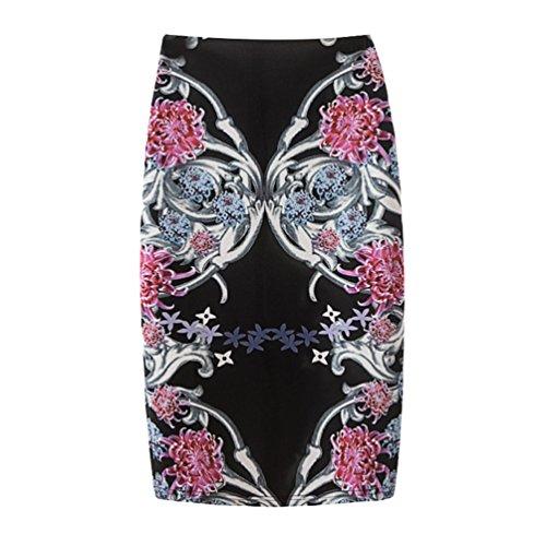 Yuanu Femme Doux Confortable Jupe Courte Serre Mode Impression Numrique Zipper Jupe Moulante Impression Style 9