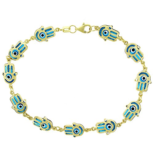 14k Yellow Gold Womens 8mm Clear Baby Blue Hamsa Evil Eye Hand Good Luck Charm Bracelet Chain 7.5'' by In Style Designz