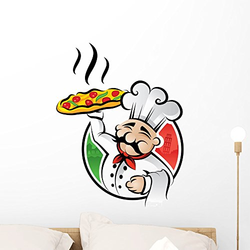 Wallmonkeys Pizza Chef Wall Decal Peel and Stick Graphic WM149230 (24 in H x 19 in W)