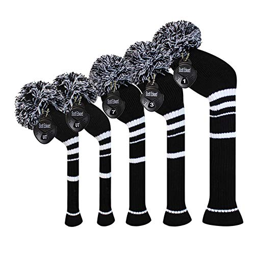 Scott Edward Black White Stripes Golf Headcover Set of 5 PCS, Driver Wood Cover1, Fairway Wood Cover2, Hybrid Cover 2, with Rotating Number - Wood 2 Fairway