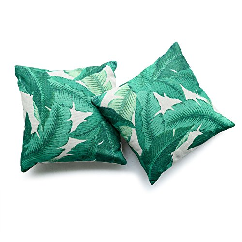 Hofdeco Decorative Throw Pillow Cover HEAVY WEIGHT Cotton Linen Modern Tropical Banana Palm Leaf 18