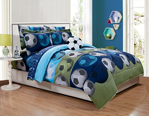 Fancy Linen Collection 6 pc Twin Size Soccer Blue green White Black Kids/Teens Comforter set With Furry Buddy Included
