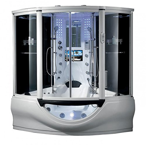 (2019 Superior Computerized Steam Shower Sauna with Jetted jacuzzi Whirlpool Massage Bathtub Spa (White))