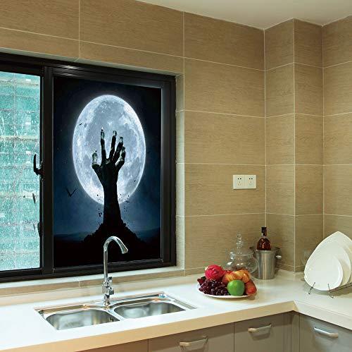YOLIYANA Non Adhesive Window Film,Halloween Decorations,for Window Moving Glass Door,Zombie Earth Soil Full Moon Bat Horror Story,24''x36''