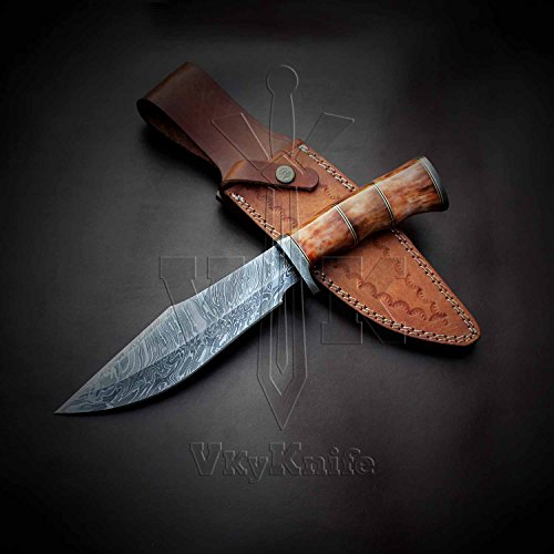 Handmade Damascus Steel Bowie Hunting Knife CAMEL BONE Handle 12.50 Inches VK0077