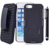 iPhone 5c Case, Wisdompro® Heavy Duty Hard Rugged Protective Armor Holster Case with Kickstand and Belt Swivel Clip for Apple iPhone 5c - Black / Black