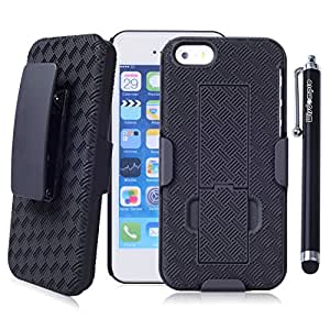 iPhone SE 5s 5 Case, Wisdompro [2 Piece] Heavy Duty Hard Rugged Protective Armor [Holster Kickstand] Case with Belt Swivel Clip for Apple iPhone 5/5s/SE - Black / Black