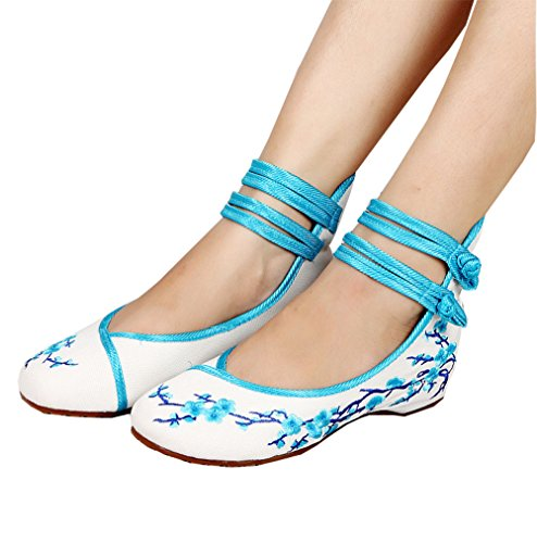 PlumBlossom Blue Chinese Womens Embroidered Casual THSGRT Flats Shoes Style2 Ballet qHCnX