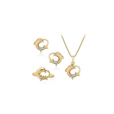 1000 et un bijoux.Parure bijoux 5 pièces Dauphin Or jaune laminé 24 Carats*