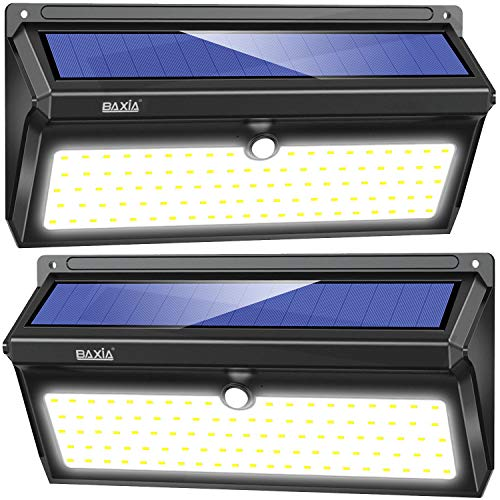 BAXIA TECHNOLOGY Solar Lights Outdoor, Solar Motion Sensor Lights With Wide Angle, Upgraded 100 LED Waterproof Super Bright Security Solar Wall Lights for Garden, Fence, Front Door, Yard, [2 Pack] (Bright Super Garden Led Solar Lights)