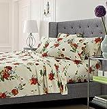 floral queen sheets - Tribeca Living Flomfsheetqumc Floral Printed Soft Deep Pocket 6-Piece Sheet Set, Queen, Floral Multi