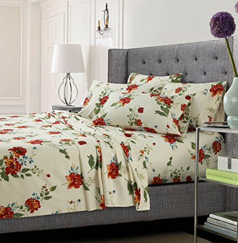 (Tribeca Living FLOMFSHEETQUMC Floral Printed Soft Deep Pocket 6-Piece Sheet Set, Queen, Multi)