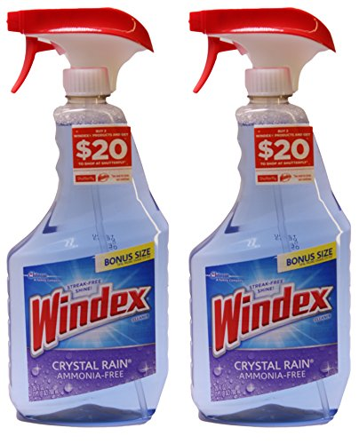 Windex Glass Cleaner, Crystal Rain, No Ammonia, 26 Ounces (Pack of 2) - Free Ammonia Cleaner Glass