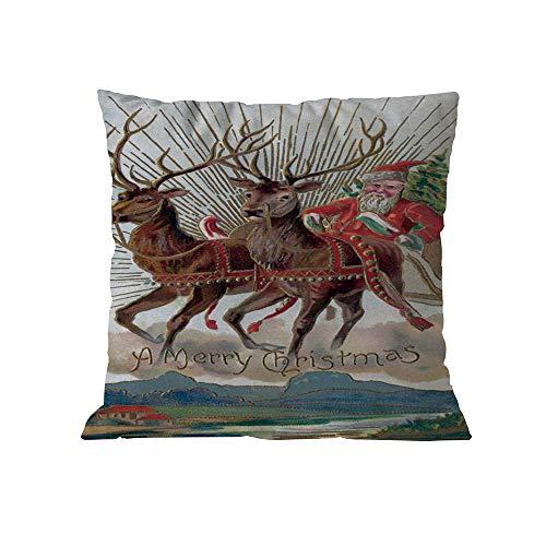 Christmas Cotton Sofa Case Cushion Square Pillow Home Decoration,Rakkiss 8091 ()