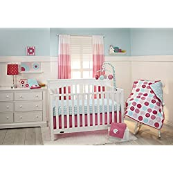 Little Bedding by NoJo 3 Piece Crib Set, Tickled Pink - Pink and White