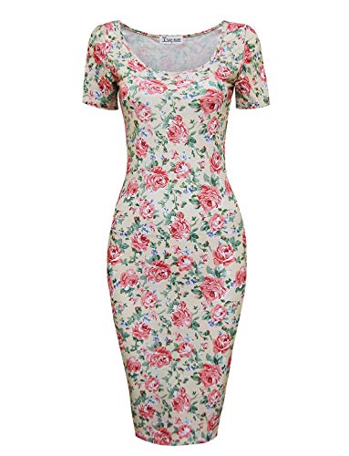 TAM WARE Women's Sweetheart Short Sleeve Midi Dress TWCWD053-BEIGEPINK-US S