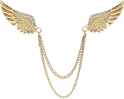 Crystal Rhinestone Wing Chain Tassels Brooch Lapel Pin Men/'s Accessories