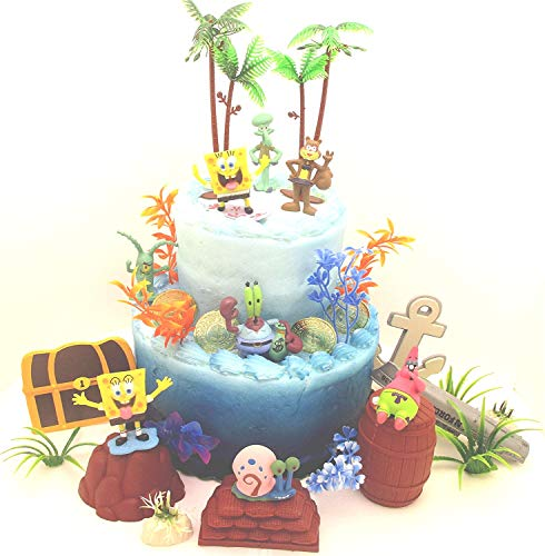 Spongebob Squarepants Under the Sea Deluxe Birthday Cake Topper Set Featuring Random Spongebob Character Figures and Decorative Themed Accessories]()
