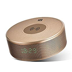 Bluetooth Speaker with Qi Wireless Charger Alarm Clock FM Radio, Portable Bluetooth Speaker with Microphone for Hands-Free Calls, 5 Watts 8-Hour Playtime, Perfect Wireless Speaker for iPhone, Samsung