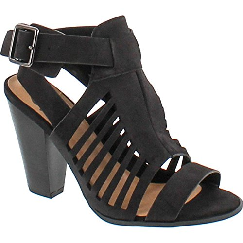 Soda Delicious Yummy Cutout Stacked Heel Sandal,Black,8.5